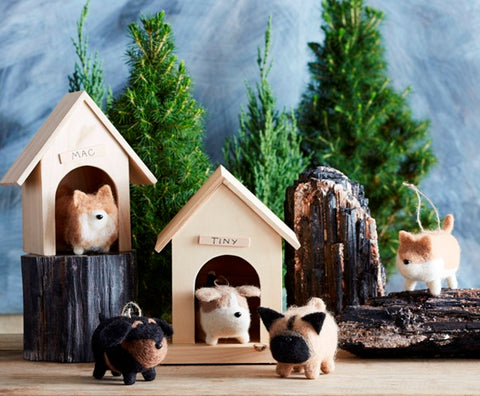 Roost Fat Dog Ornaments S/5