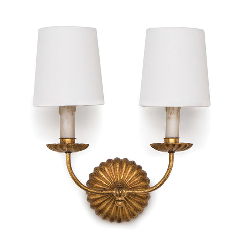 Clove Sconce Double (Antique Gold Leaf) - Regina Andrew Design