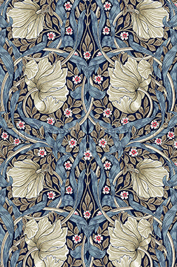 Vinyl Floorcloth - Indigo Pimpernel