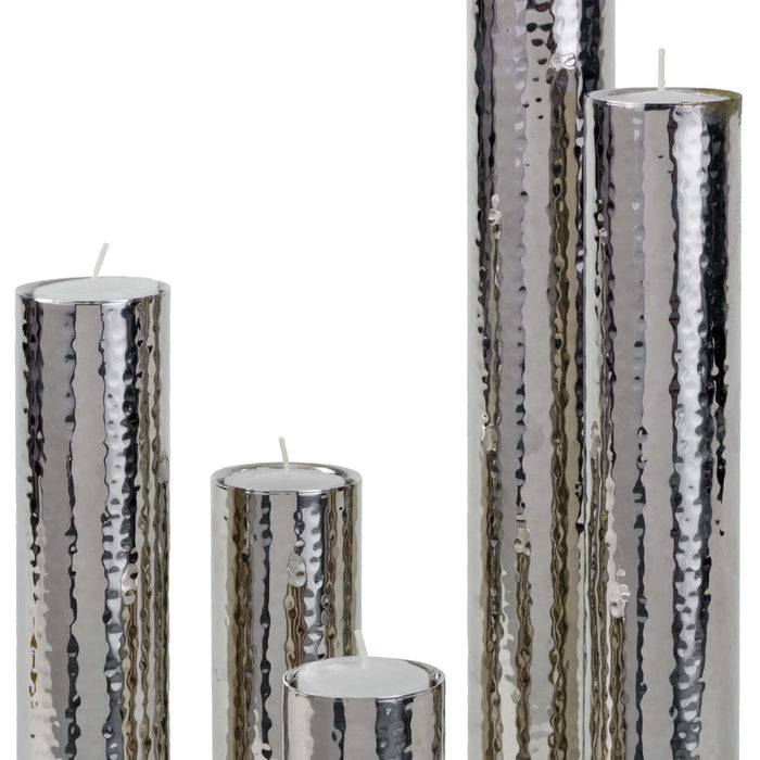 Hammered Bud Vase Set (Polished Nickel)