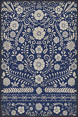 Vinyl Floorcloth - Floral Dickinson (Blue) - Spicher and Company | Trovati