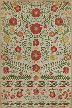 Vinyl Floorcloth - Floral Where to be Happiest (Red Flowers) - Spicher and Company | Trovati