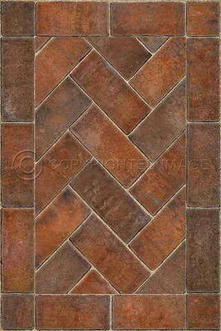 Vinyl Floorcloth - Market Square Herringbone Brick