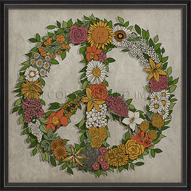 Print - Floral Peace Sign
