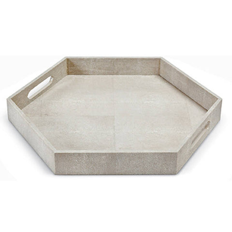 Regina Andrew Design Ivory Grey Shagreen Hex Tray