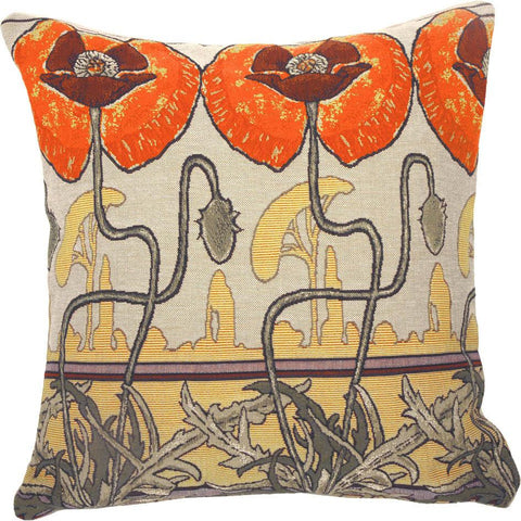 Pavots Art Nouveau by Mucha Decorative Pillow - Jules Pansu