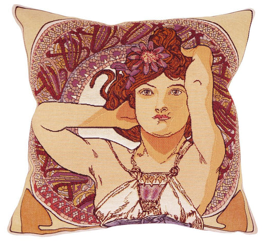 Améthyste by Mucha Decorative Pillow - Jules Pansu - Trovati