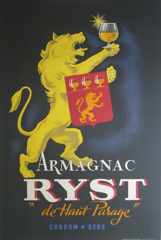 Armagnac Ryst Authentic Vintage Poster