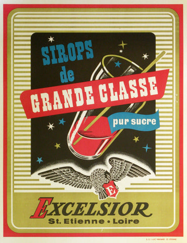 Excelsior Sirops Authentic Vintage Poster