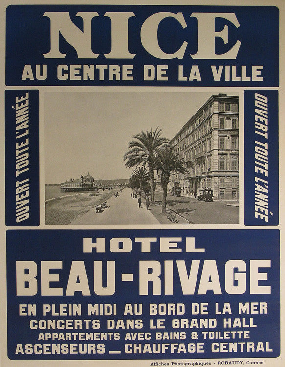 Hotel Beau Rivage Authentic Vintage Poster by Anonymous