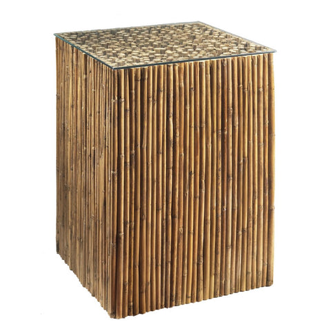 Padma's Plantation Bamboo Stick Side Table Base w/ Glass