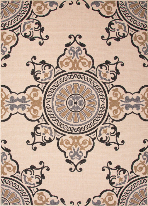 Jaipur Mobile Indoor Outdoor Rug - Tan/Cream/Black  - 1