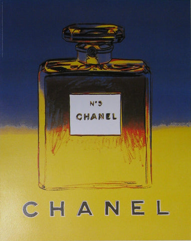 Chanel No.5 (Blue/Yellow) Authentic Vintage Poster by Andy Warhol