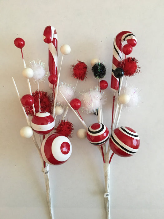 Candy Cane & Pom Pom Spray | Seasonal Decor | Trovati Studio