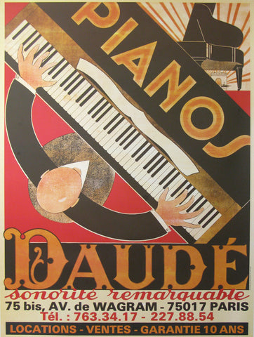 Pianos Daude Authentic Vintage Poster by Andre Daude