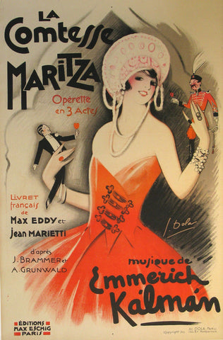 Comtesse Maritza Authentic Vintage Poster by Georges Dola