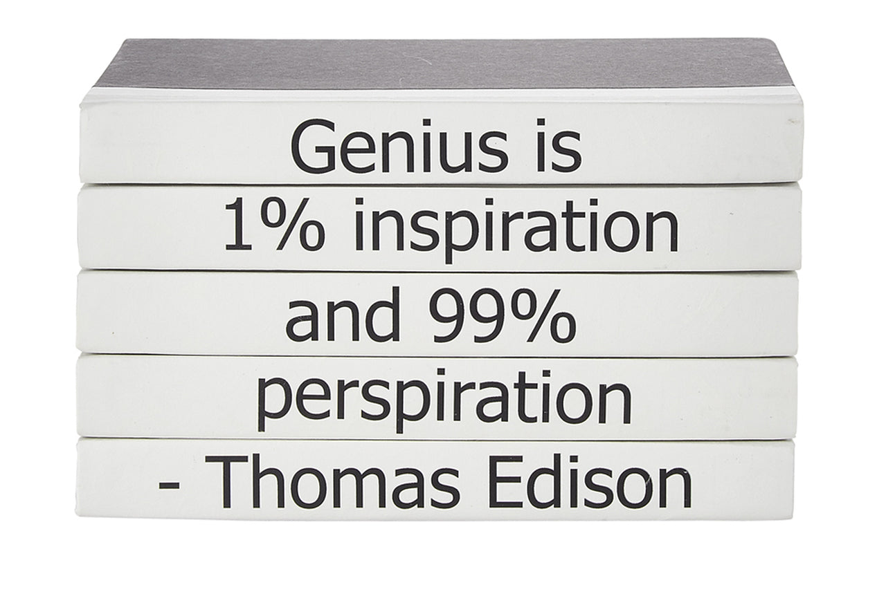 """Genus is 1% inspiration"" Quote Decorative Books 