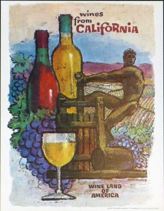 California Wine Land of America - Man Pressing Grapes Authentic Vintage Poster by Francio E Redman - Trovati