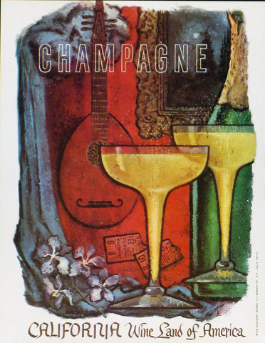 California Wine Land of America - Champagne Authentic Vintage Poster by Francio E Redman