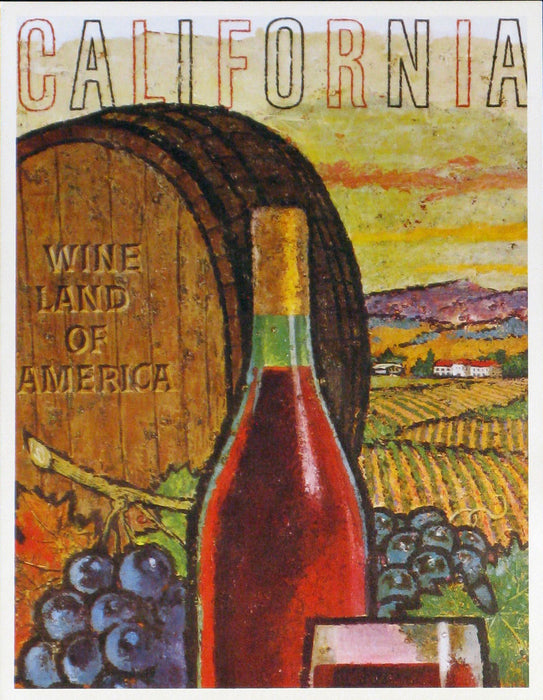 California Wine Land of America - Barrel and Bottle Authentic Vintage Poster by Francio E Redman - Trovati