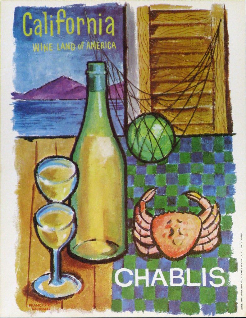 California Wine Land of America - Chablis Authentic Vintage Poster by Francio E Redman - Trovati