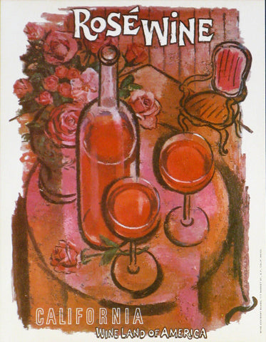 California Wine Land of America - Rose Authentic Vintage Poster by Francio E Redman