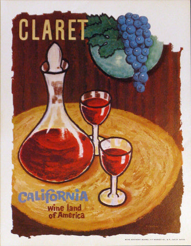 California Wine Land of America - Claret Authentic Vintage Poster by Francio E Redman