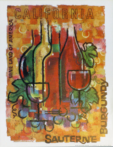 California Wine Land of America - Sauterne Authentic Vintage Poster by Francio E Redman
