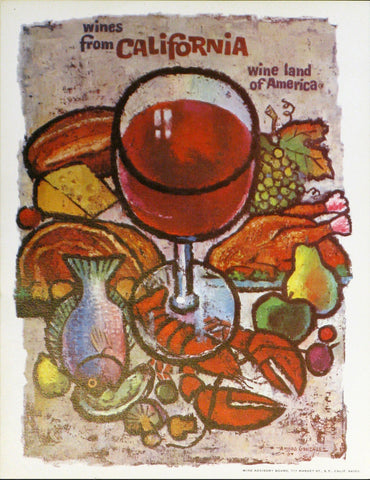 California Wine Land of America - Red Wine and Food Authentic Vintage Poster by Francio E Redman