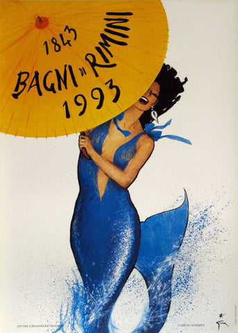 Bagni di Rimini Authentic Vintage Poster by Rene Gruau