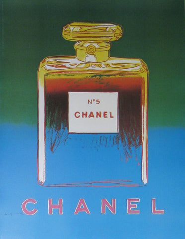 Chanel No.5 (Green/Blue) Authentic Vintage Poster by Andy Warhol