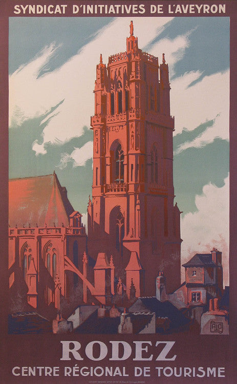 "Rodez Authentic Vintage Poster by Charles ""Alo"" Hallo"