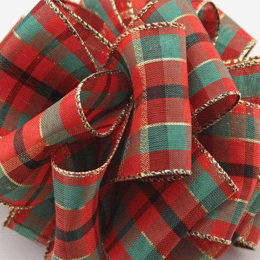 Red Plaid Ribbon (wired edge) | Holiday Decor | Trovati Studio
