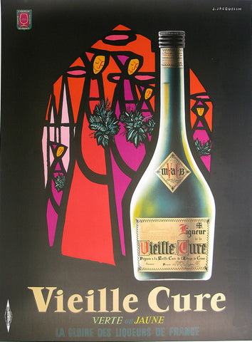 Vieille Cure Black Authentic Vintage Poster by Jean Jacquelin
