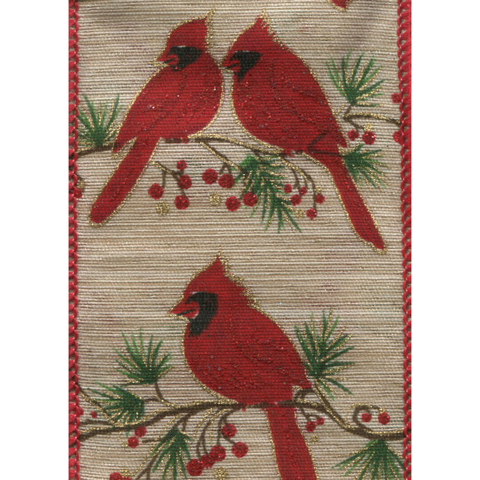 Red Cardinal Ribbon (wired edge) | Holiday Decor | Trovati Studio