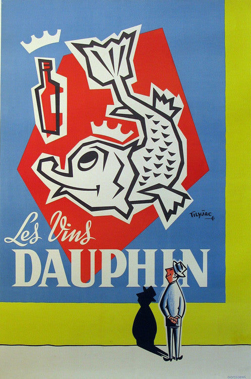 Les Vins Dauphin Authentic Vintage Poster by Tilyjac