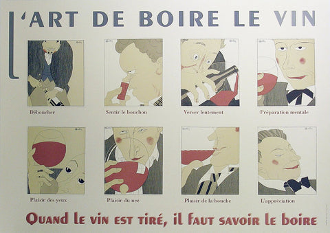L'Art de Boire le Vin Authentic Vintage Poster by Charles Martin