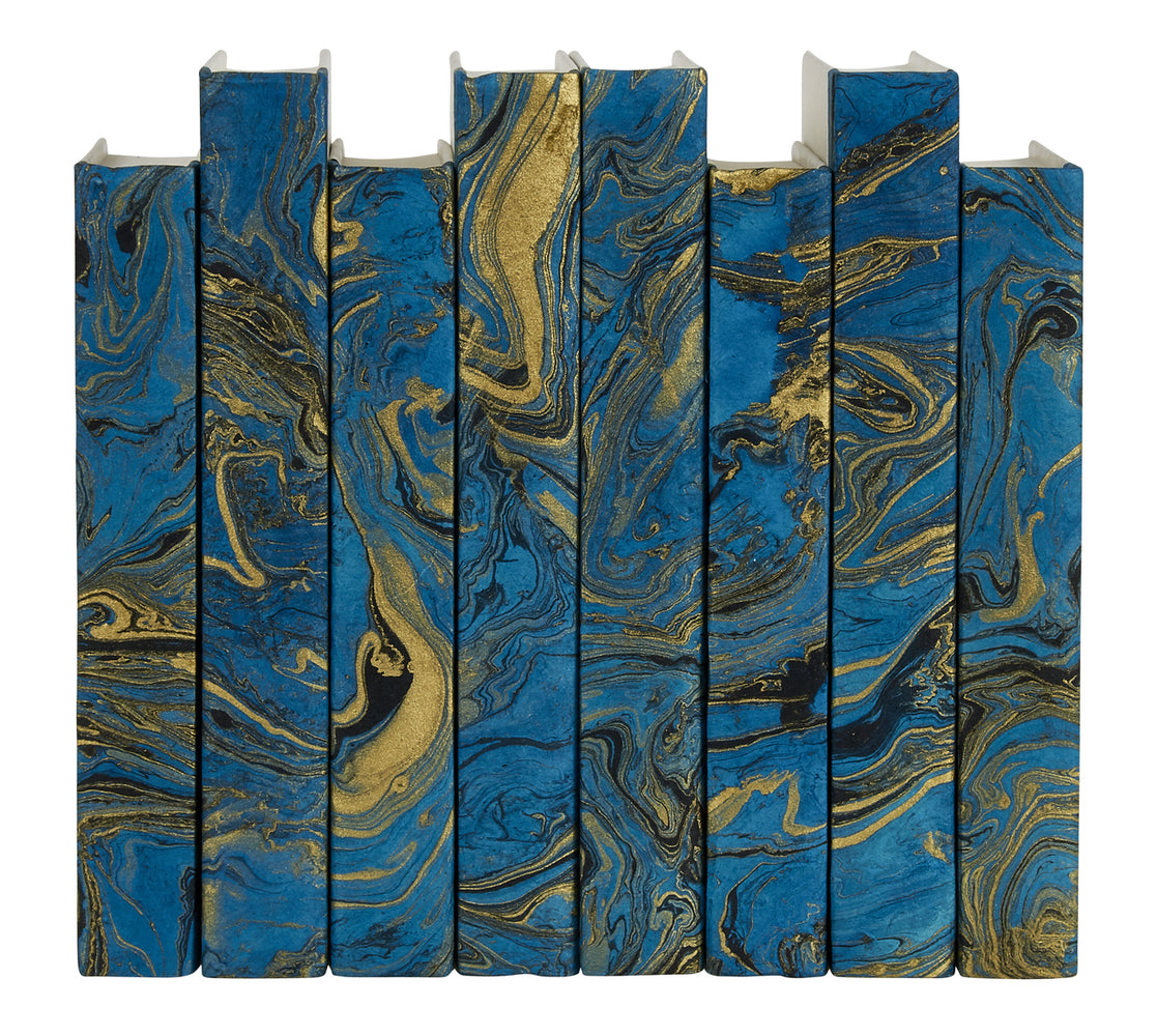 Marbled Turquoise Decorative Books | E.Lawrence Ltd | Trovati Studio