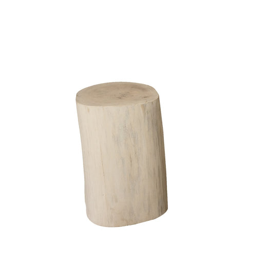 "Padma's Plantation Natural Tree Stump Side Table - 17"" White - Trovati"