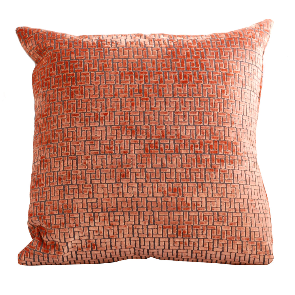 Trovati Decorative Pillow - Velvet Bari Sunset Orange  - 1