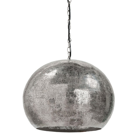 Pierced Metal Sphere Pendant Light (Polished Nickel) Regina Andrew Design