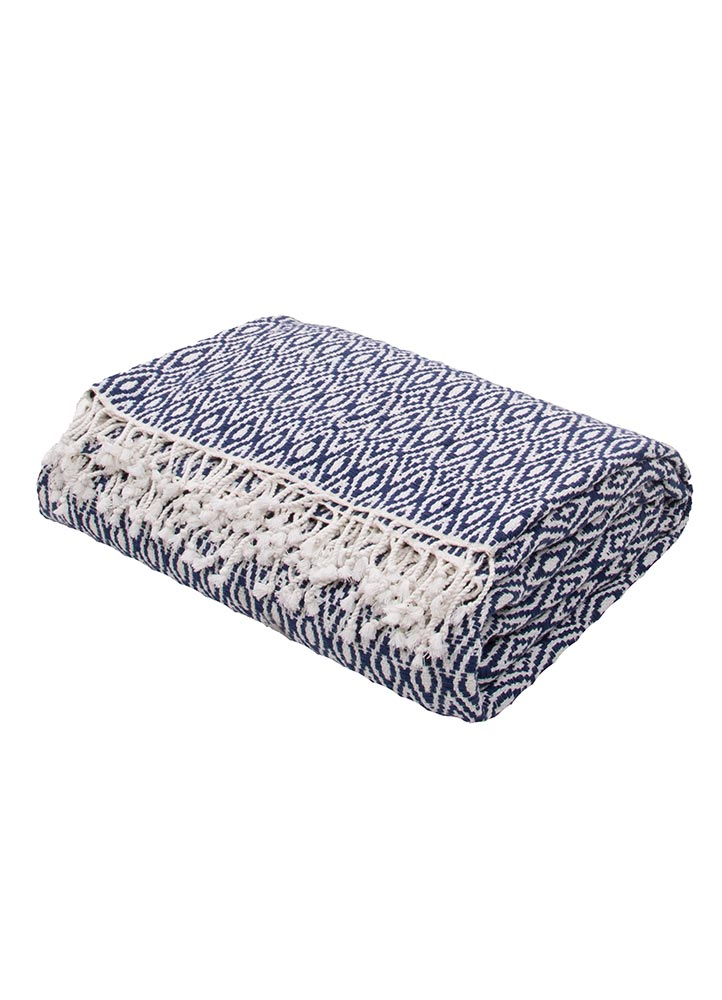 Jaipur Spirit Throw - Insignia Blue/Cloud Dancer
