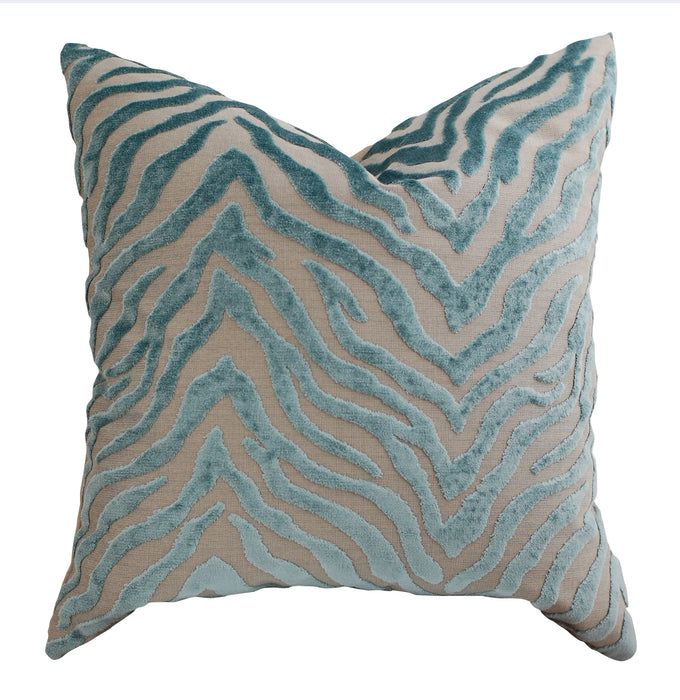 Trovati Decorative Pillow - Velvet Peekskill Zebra Print Seaglass  - 2