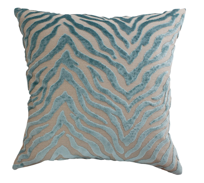 Trovati Decorative Pillow - Velvet Peekskill Zebra Print Seaglass  - 1