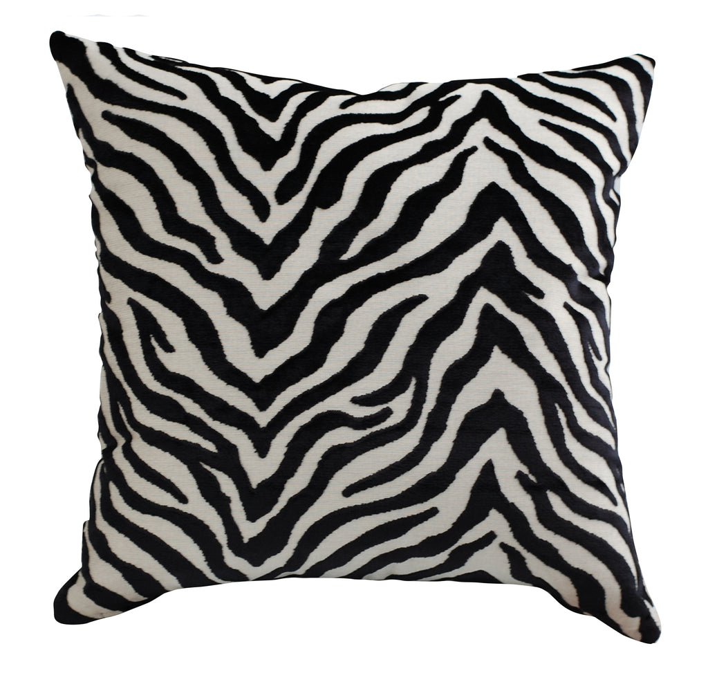 Trovati Decorative Pillow - Velvet Peekskill Zebra Print Tuxedo Black White  - 1