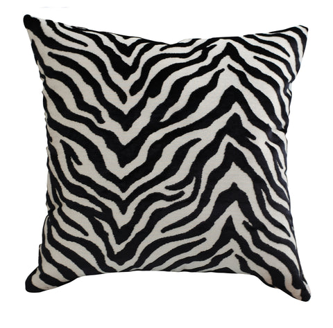Trovati Peekskill Zebra Decorative Pillow- Tuxedo Black