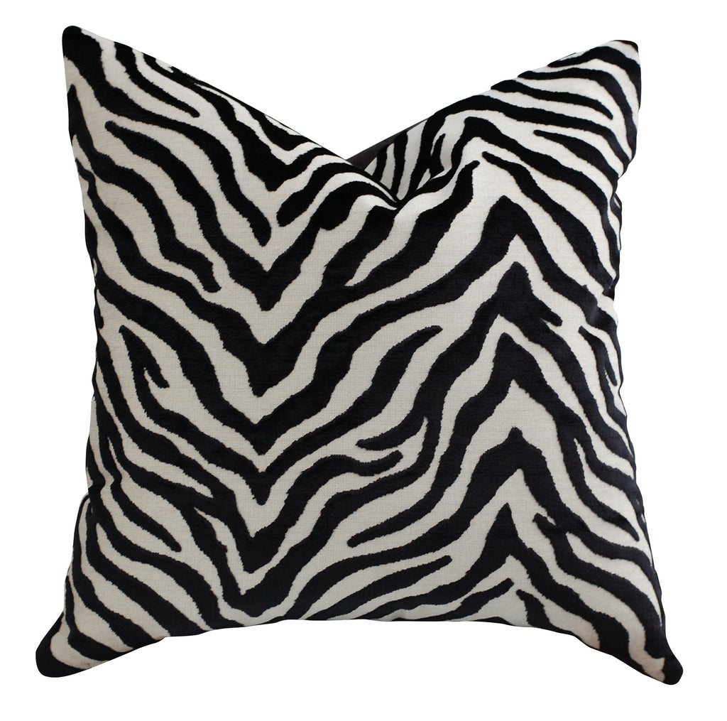 Trovati Decorative Pillow - Velvet Peekskill Zebra Print Tuxedo Black White  - 2