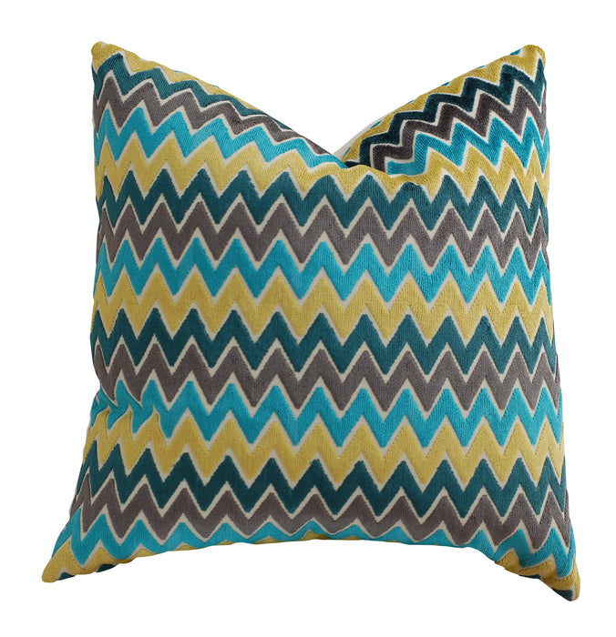 Trovati Decorative Pillow -  Velvet Chevron Stripe Rhinebeck Caribe Turquoise Gold  - 2