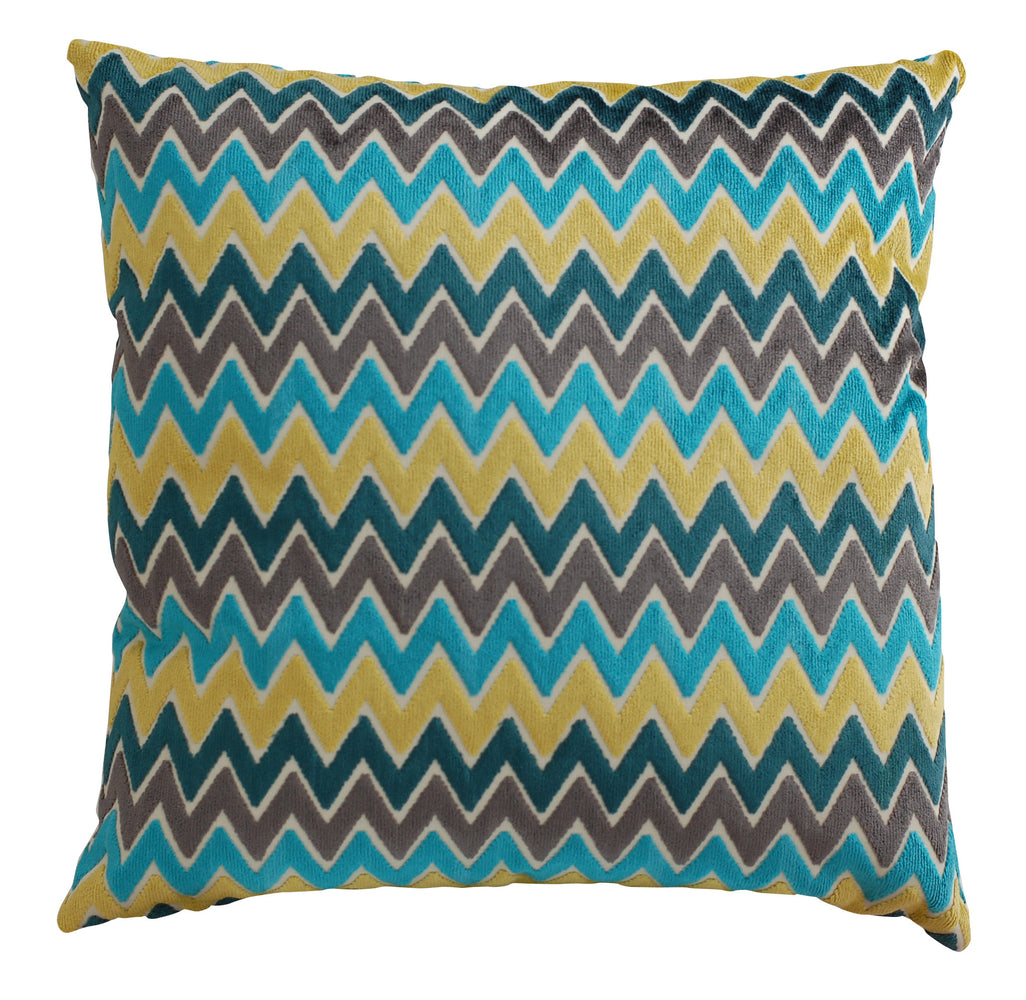 Trovati Decorative Pillow -  Velvet Chevron Stripe Rhinebeck Caribe Turquoise Gold  - 1