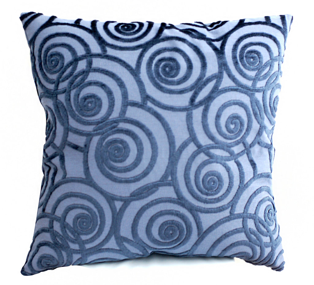Trovati Decorative Pillow - Velvet Chevron Ink Swing Blue  - 1